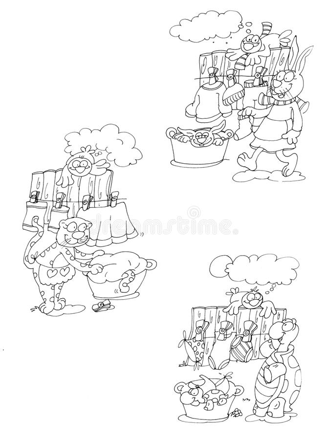 the laundry with clothes hanging rabbit, cat and turtle,chine drawn by color stock illustration
