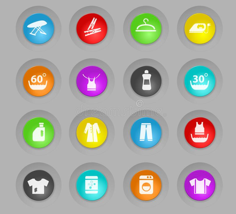 Laundry colored plastic round buttons icon set. Laundry colored plastic round buttons web icons for user interface design royalty free illustration
