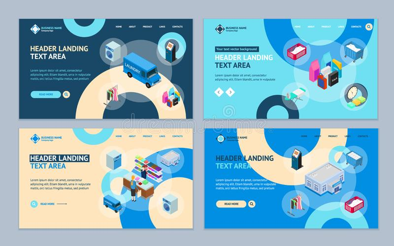 Laundry Concept Landing Web Page Template Set 3d Isometric View. Vector. Laundry Concept Landing Web Page Template Set 3d Isometric View Include of Ironing vector illustration