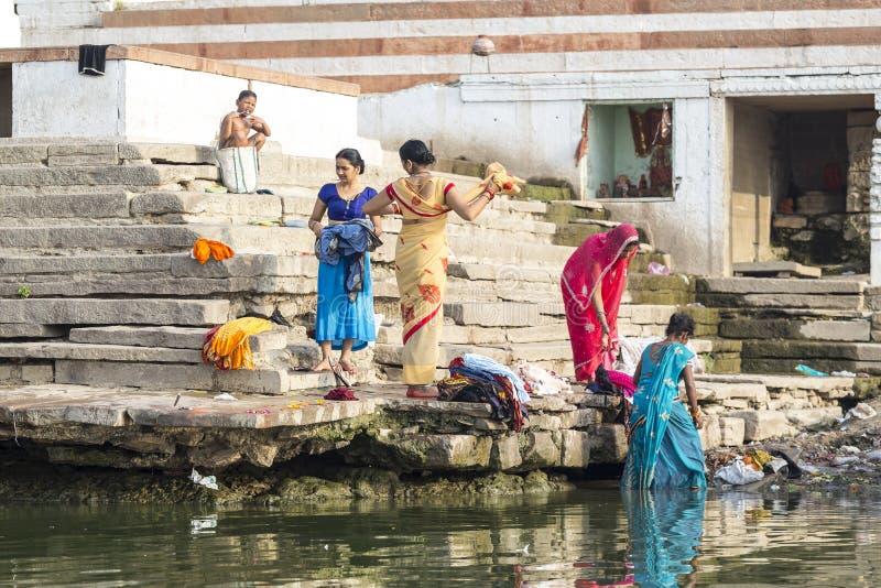 Laundry day in Varanasi, India stock image