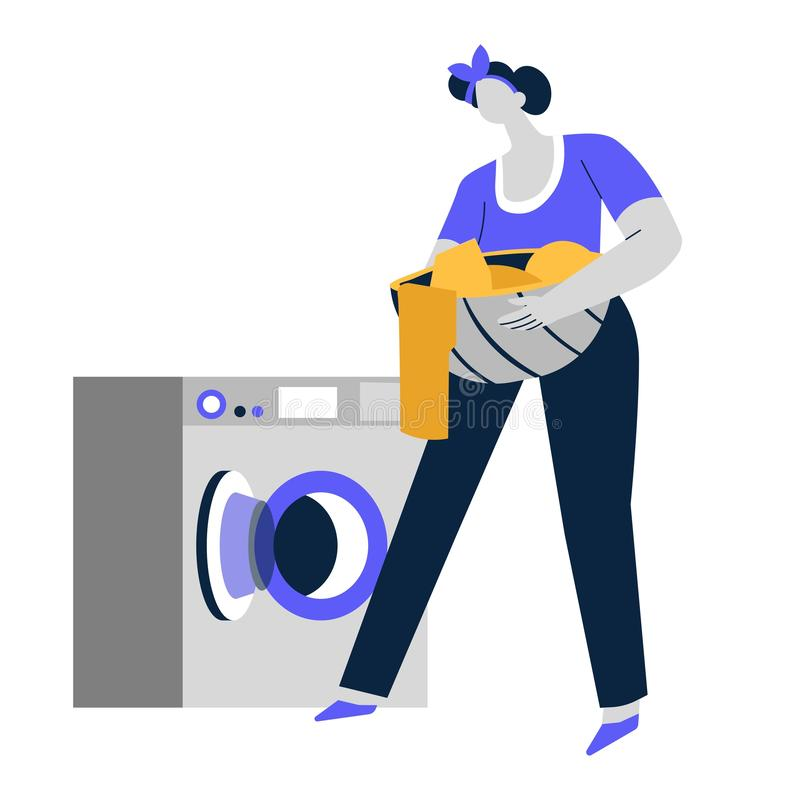 Laundry day, washing machine and basin with clothes, cleaning service. Washing machine, basin with clothes, laundry day vector. Cleaning service, woman and royalty free illustration