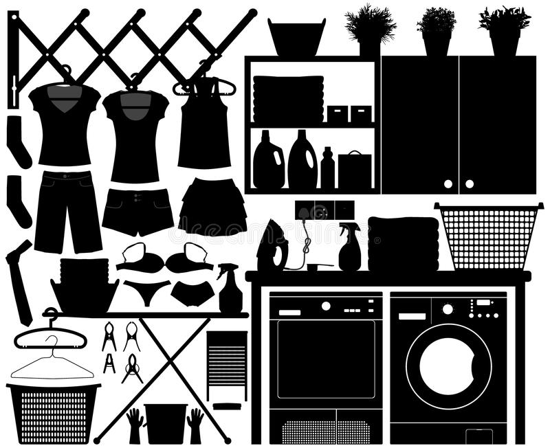 Laundry Design Set Vector. A big set of laundry equipment for home interior stock illustration