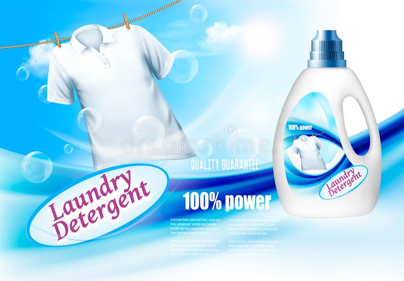 Laundry detergent ads. Plastic bottle and white shirt on rope. royalty free illustration