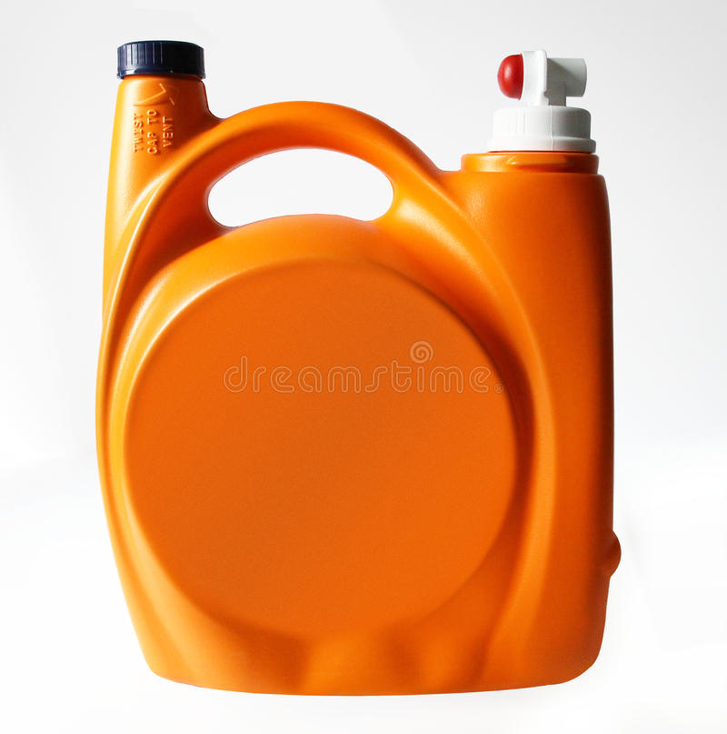 Laundry detergent. Orange large container royalty free stock images
