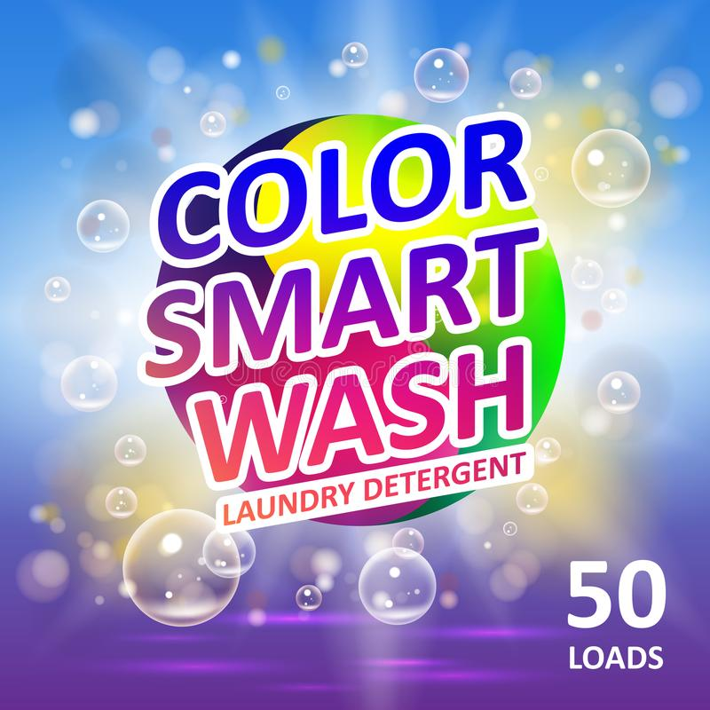 Laundry detergent package ads. Creative soap smart clean design product. Toilet or bathroom color tub cleanser design stock illustration