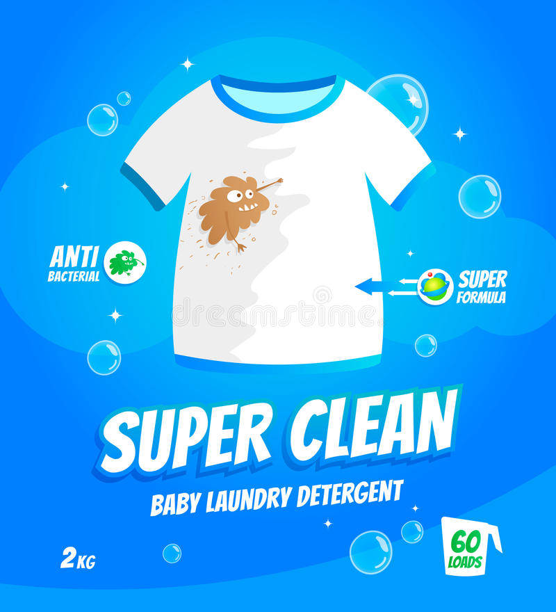 Laundry detergent package. Package design template for baby laundry detergent. T-shirt with dirt stains character.Vector illustration royalty free illustration