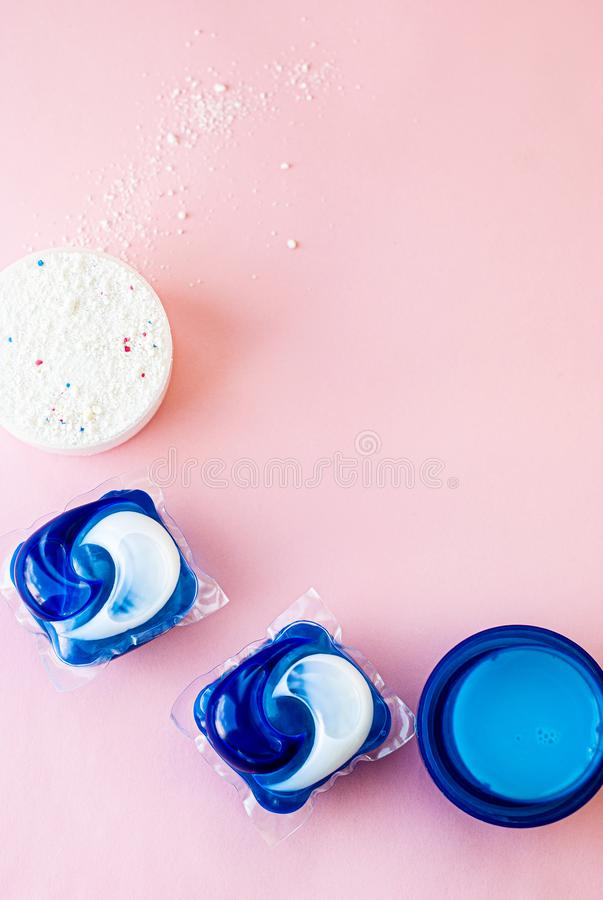 Laundry detergent sorts variety in powder, liquid gel and pod in washing dose stock photo
