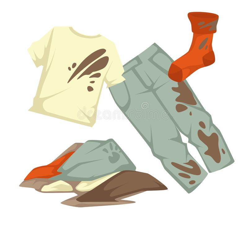 Laundry dirty clothes pile mud stains housework or household chore. Dirty laundry mud stains on garments vector towels and clothing stockings and linen stock illustration
