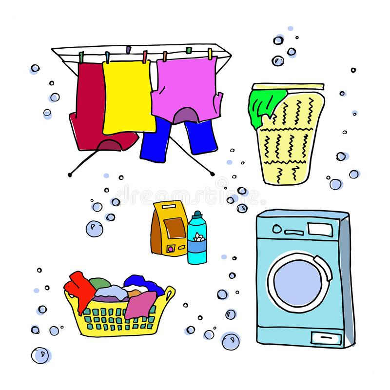 Laundry doodle set. Washing machine, washing clothes, laundry detergent, laundry basket, clothes dry on ropes, dryer for. Clothes. Bright multicolor vector royalty free illustration