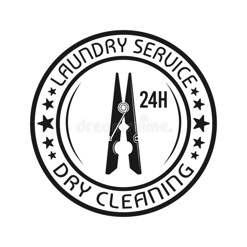 Laundry, dry cleaning emblem with clothes pin. Laundry service and dry cleaning vector round emblem, label, badge or logo with clothes pin in vintage monochrome royalty free illustration