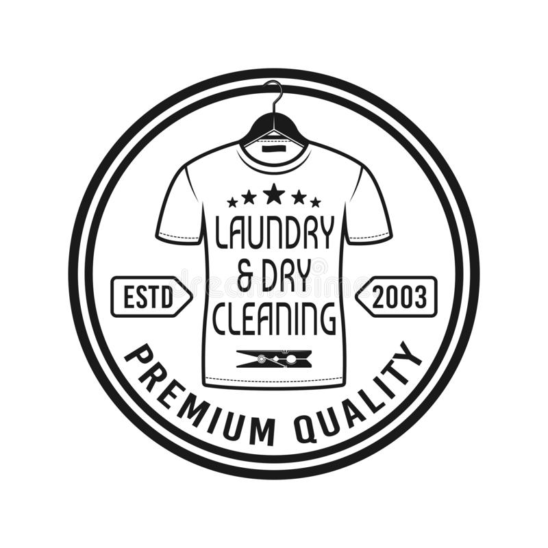 Laundry and dry cleaning service vector emblem. Laundry and dry cleaning service vector round emblem, label, badge or logo in vintage monochrome style isolated stock illustration