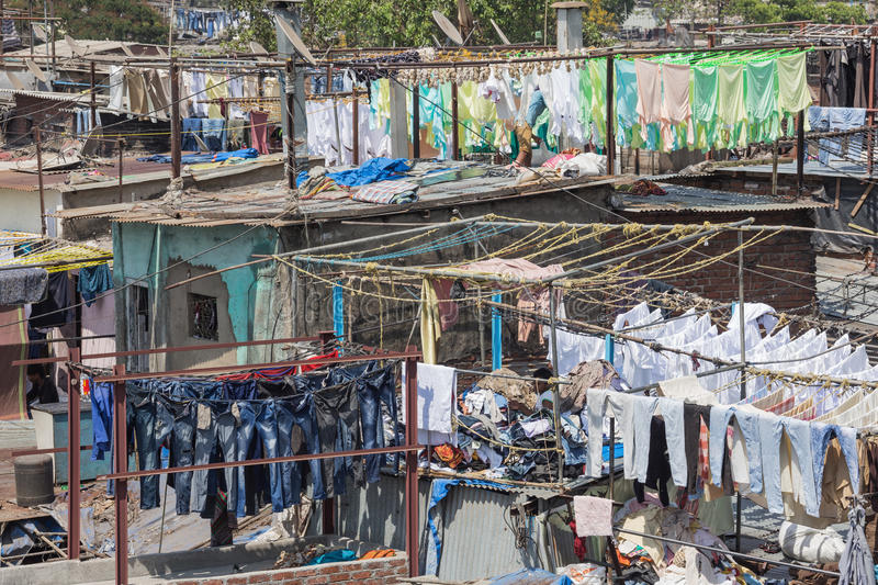 Laundry drying in the Mahalaxmi Dhobi Ghat open air laundromat royalty free stock images
