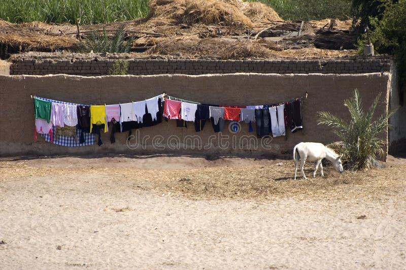 Laundry Drying, Nile River, Egypt Travel Stock Image