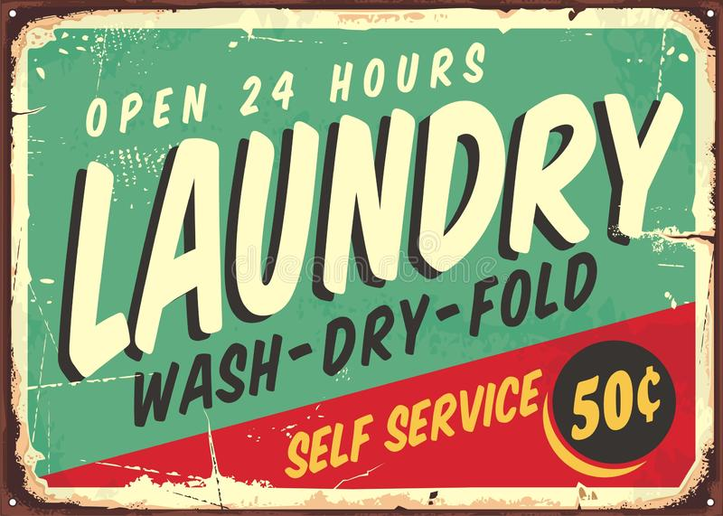 Laundry fifties comic style retro sign stock illustration