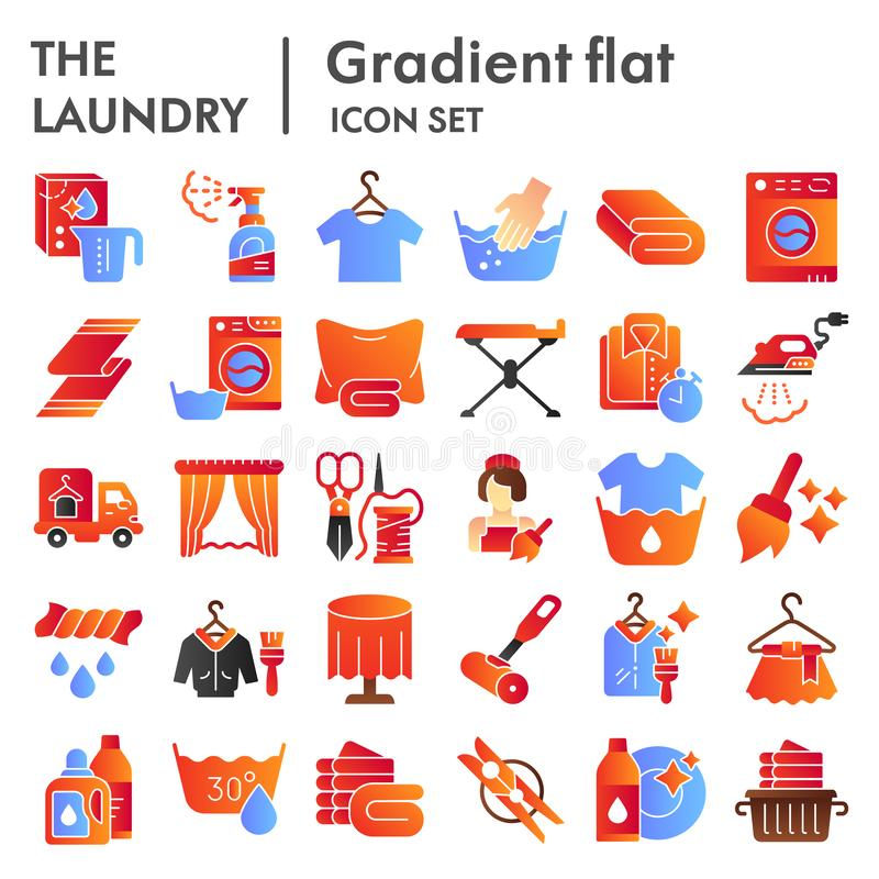 Laundry flat icon set, washing clothes symbols collection, vector sketches, logo illustrations, housework signs color. Gradient pictograms package isolated on vector illustration