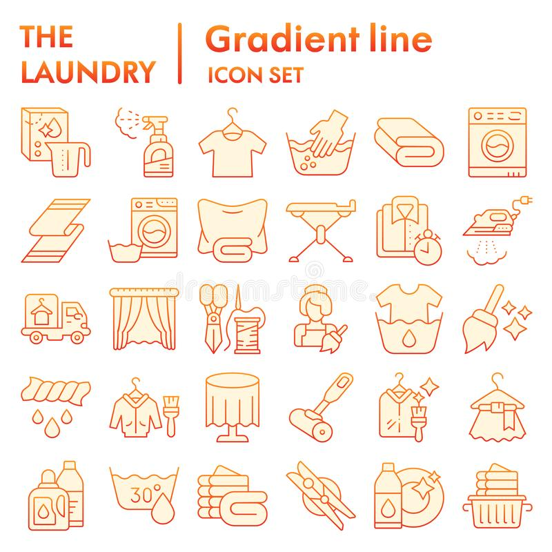 Laundry flat icon set, washing clothes symbols collection, vector sketches, logo illustrations, housework signs red. Gradient pictograms package isolated on royalty free illustration