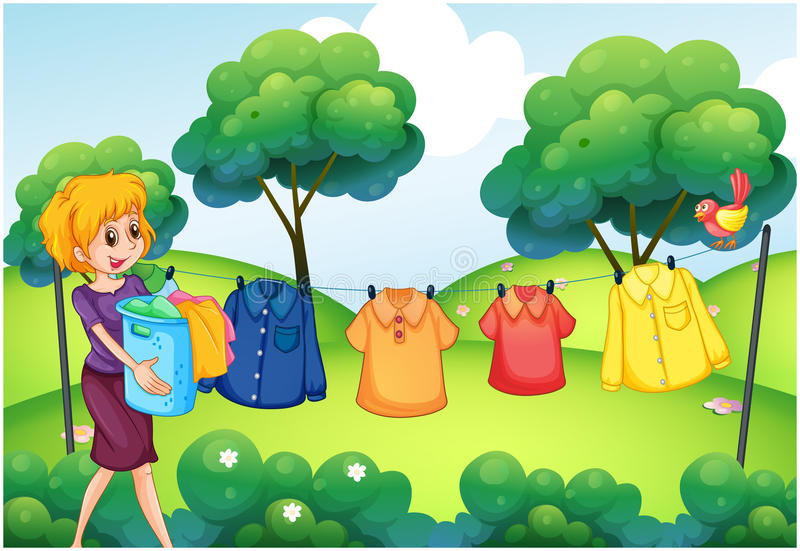 Laundry. Girl hanging clothes on line outside the house stock illustration