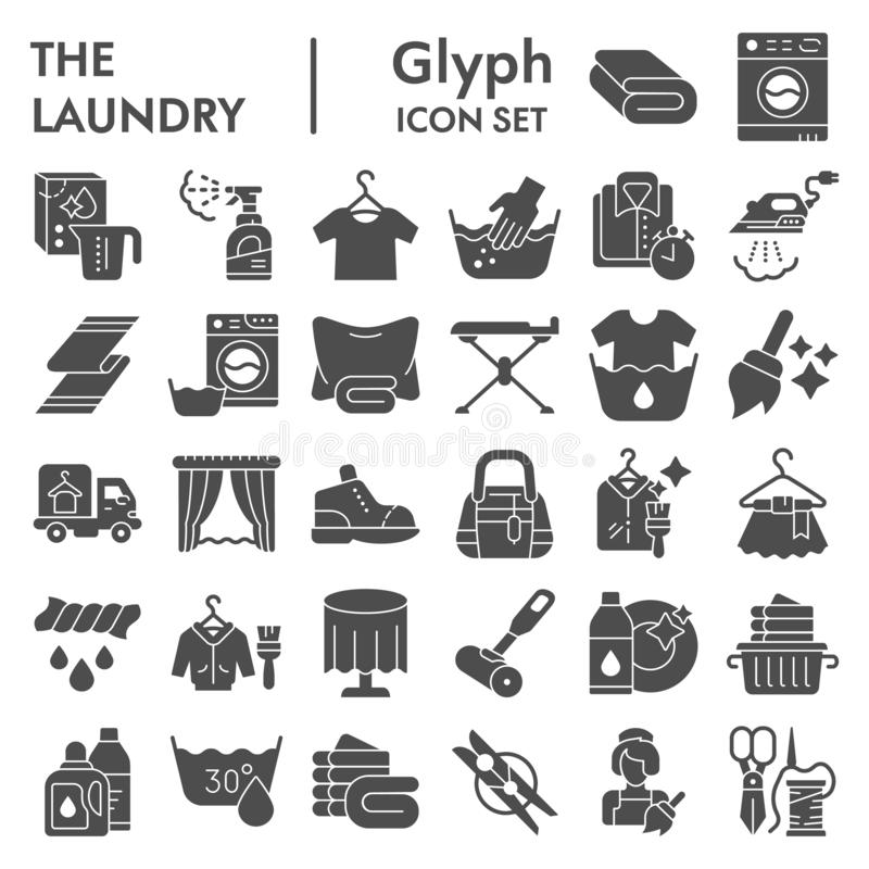 Laundry glyph icon set, washing clothes symbols collection, vector sketches, logo illustrations, housework signs solid. Pictograms package isolated on white vector illustration
