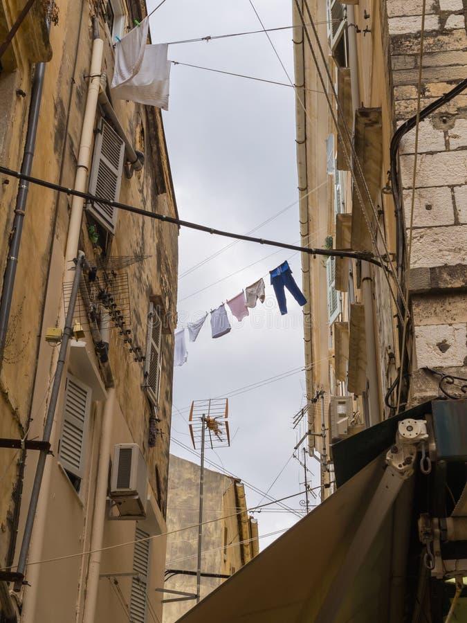 Laundry hanging in Corfu Town - Kerkyra royalty free stock photos