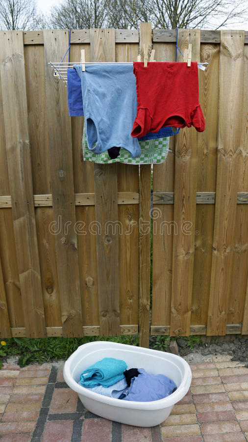 Laundry. Is hanging in the garden stock photos