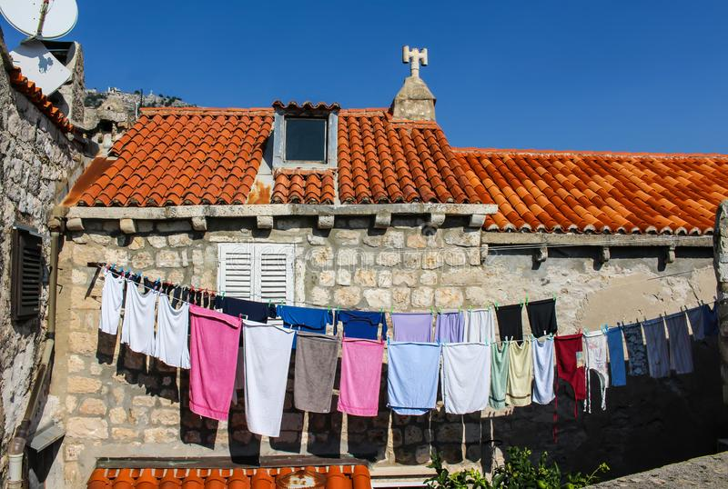Laundry hanging in the medieval town of Dubrovnik, Croatia royalty free stock photos