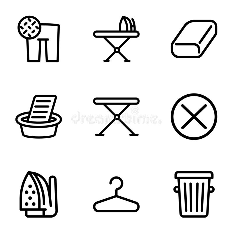 Laundry home wash icon set, outline style. Laundry home wash icon set. Outline set of 9 laundry home wash vector icons for web design isolated on white royalty free illustration