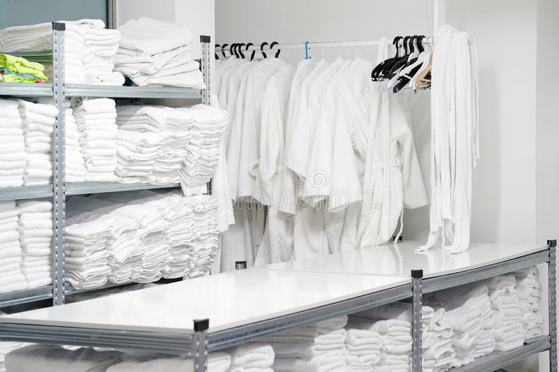 Laundry hotel cleaning services. Hotel linen cleaning services. Hotel laundry royalty free stock photo