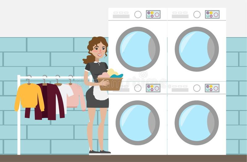 Laundry at hotel. Laundry at hotel with maid and clothes vector illustration
