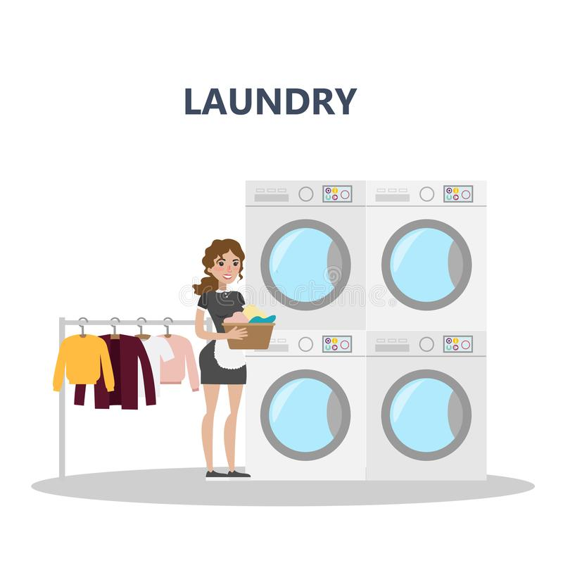 Laundry at hotel. Laundry at hotel with maid and clothes on white vector illustration