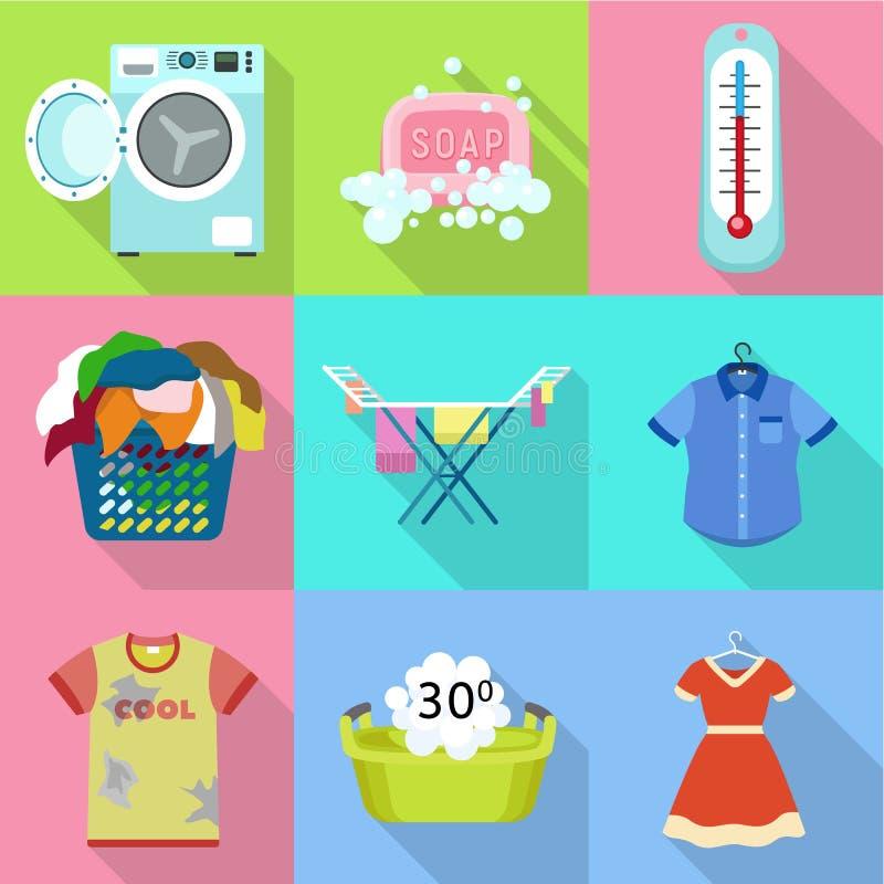 Laundry icon set, flat style. Laundry icon set. Flat set of 9 laundry vector icons for web design isolated on white background vector illustration