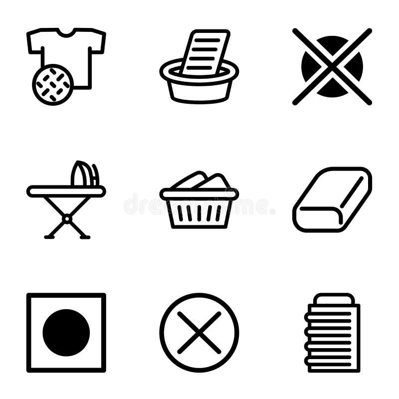 Laundry icon set, outline style. Laundry icon set. Outline set of 9 laundry vector icons for web design isolated on white background stock illustration