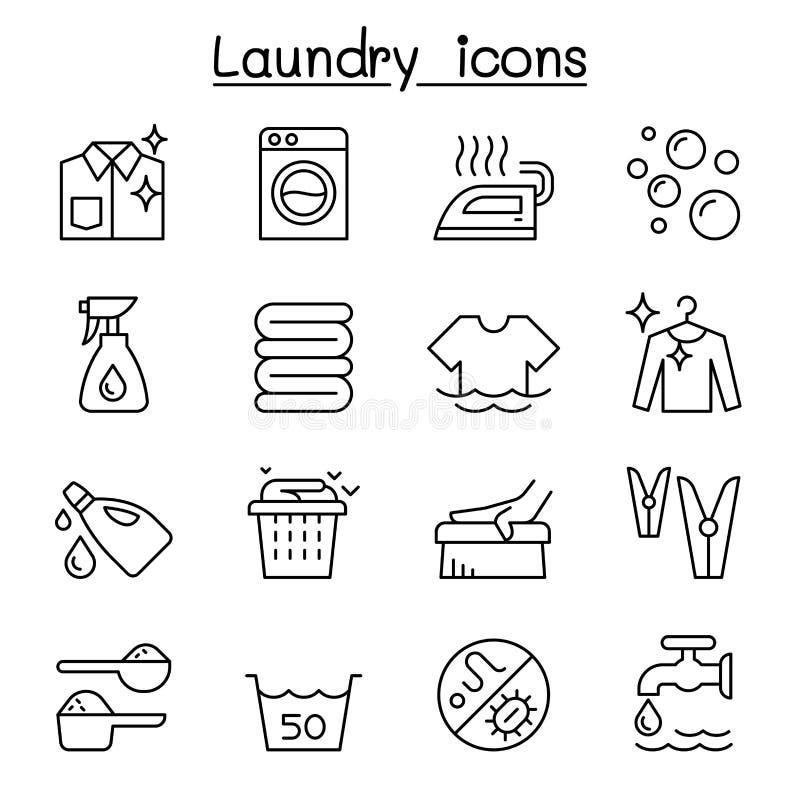 Laundry icon set in thin lline style. Vector illustration graphic design royalty free illustration