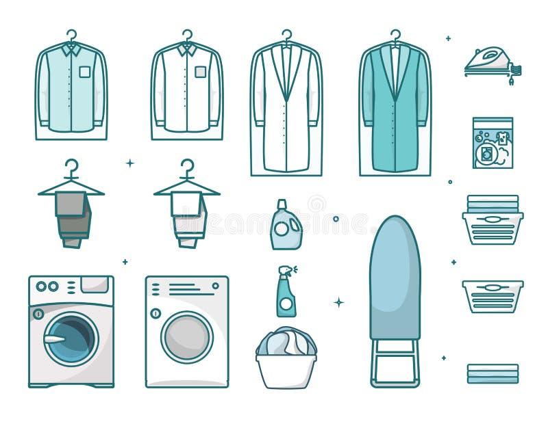 Laundry thin line art icon set, vector isolated illustration. Laundry icon set, vector illustration isolated on white background. Washing and ironing service royalty free illustration