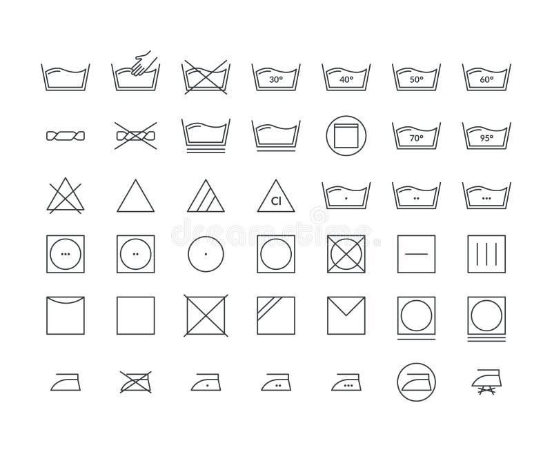 Laundry Icon Thin Line Set. Vector stock illustration