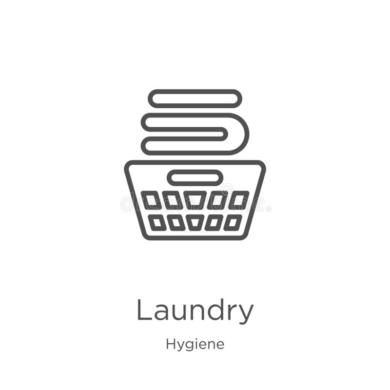 laundry icon vector from hygiene collection. Thin line laundry outline icon vector illustration. Outline, thin line laundry icon stock illustration