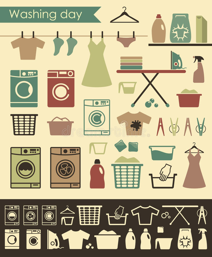Laundry icons. Icons on a theme of washing and care of clothes royalty free illustration