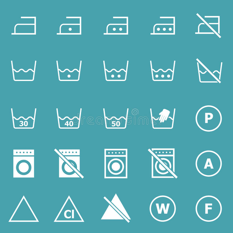 Download Laundry Icons On Blue Background Stock Vector - Image: 34263253
