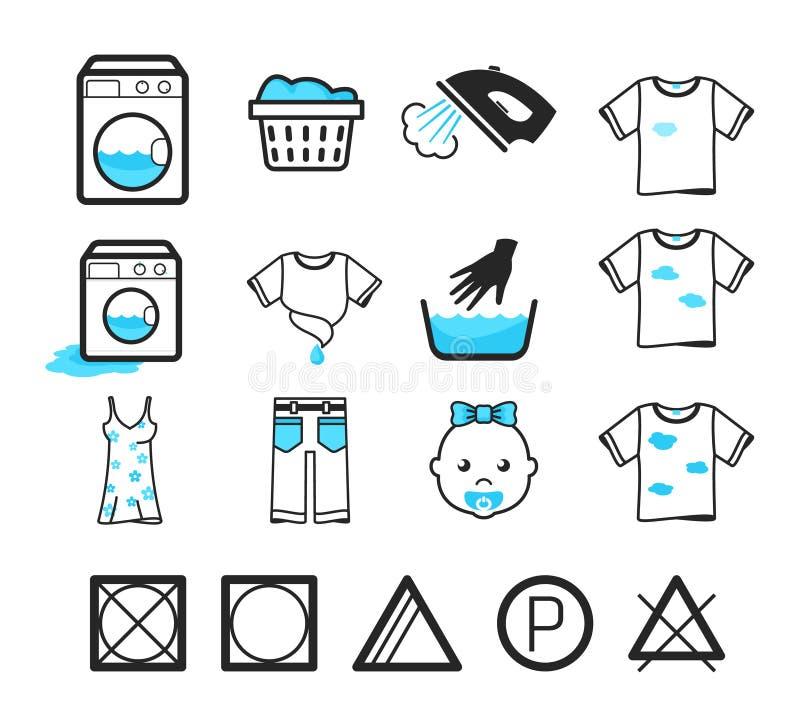 Laundry icons set. Clothing care and washing signs stock illustration