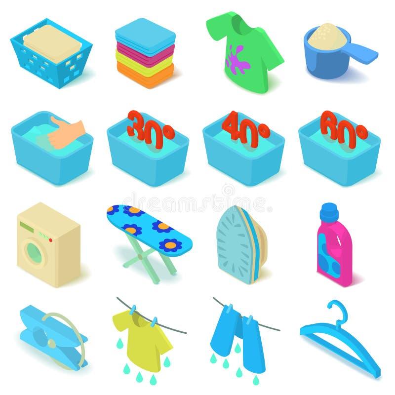 Laundry icons set, isometric style vector illustration