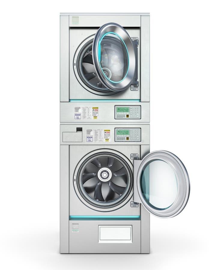 Laundry. industrial washing machine isolated on the white. 3d illustration royalty free illustration