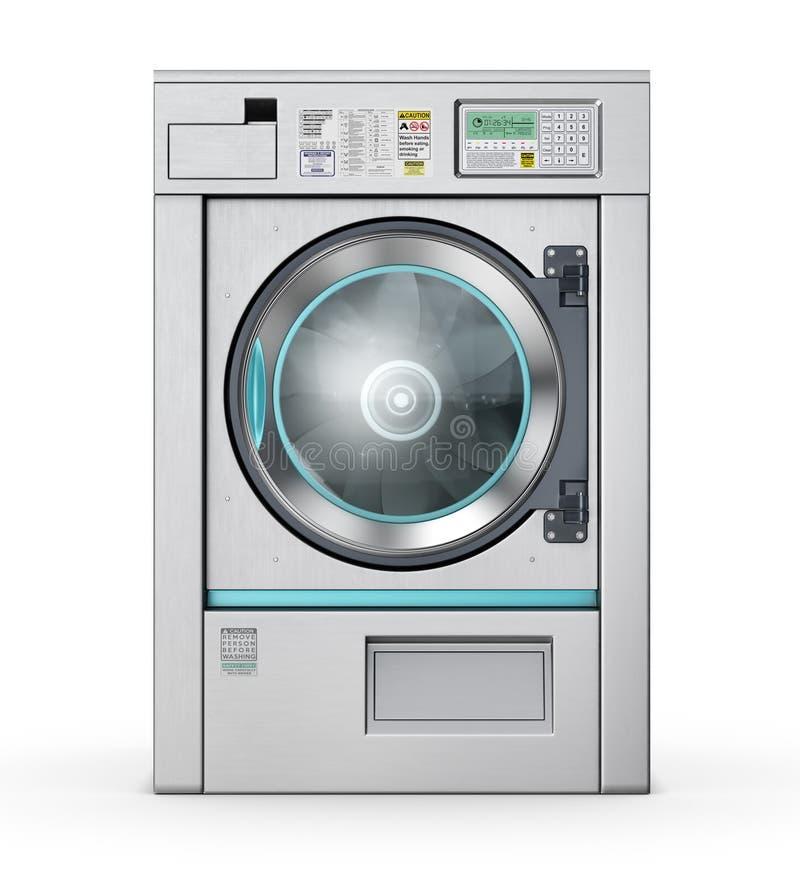 Laundry. industrial washing machine isolated on the white. 3d illustration stock illustration