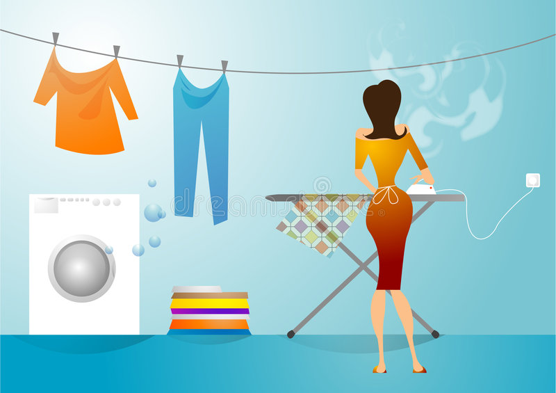Laundry and ironing business. At home vector illustration