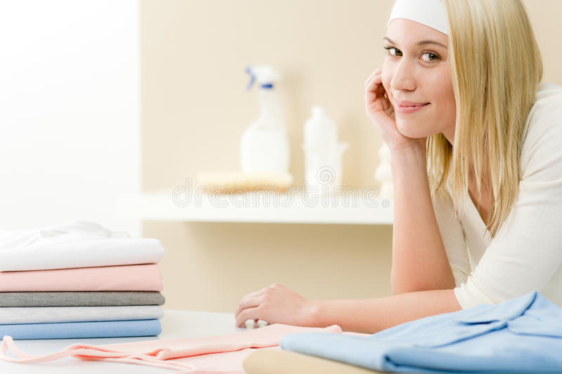 Laundry Ironing - Woman Break  After Housework Stock Photo