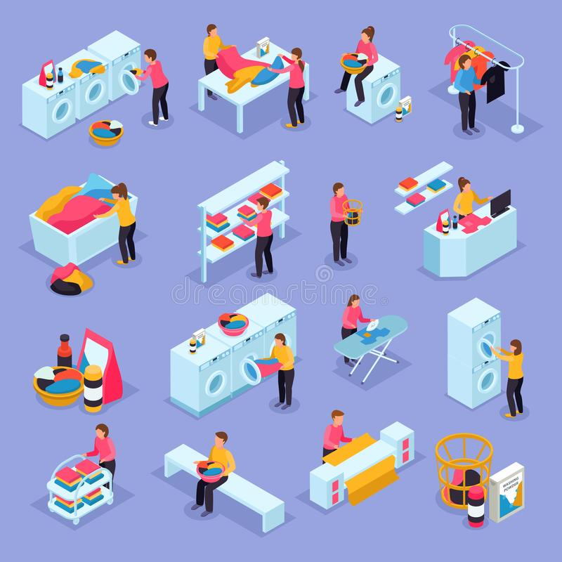 Laundry Isometric Icons. Coin laundry self service room customers equipment process isometric icons set with washing machines dryers vector illustration vector illustration