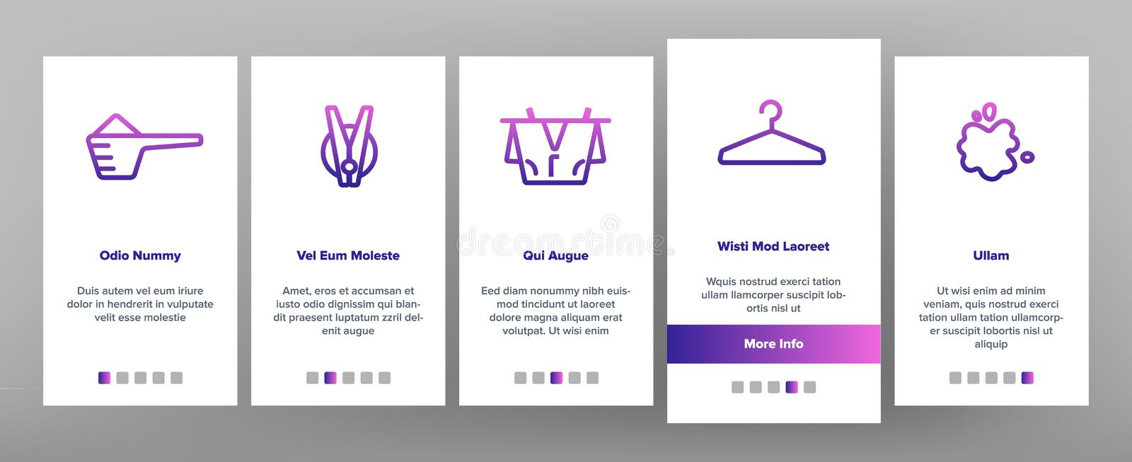Laundry Line Icon Set Vector Onboarding. Mobile App Page Screen. Washing Machine. Clean Dry Cotton. Cloth Laundry Pictogram. Thin Outline Illustration royalty free illustration