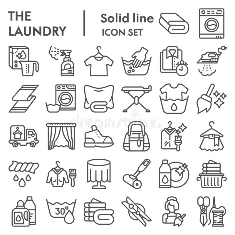 Laundry line icon set, washing clothes symbols collection, vector sketches, logo illustrations, housework signs linear. Pictograms package isolated on white vector illustration