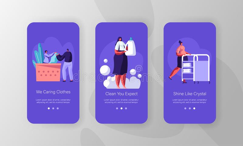 Laundry Mobile App Page Onboard Screen Set. Employees of Professional Cleaning Service Working, Customer in Public Laundrette. Laundry Mobile App Page Onboard royalty free illustration
