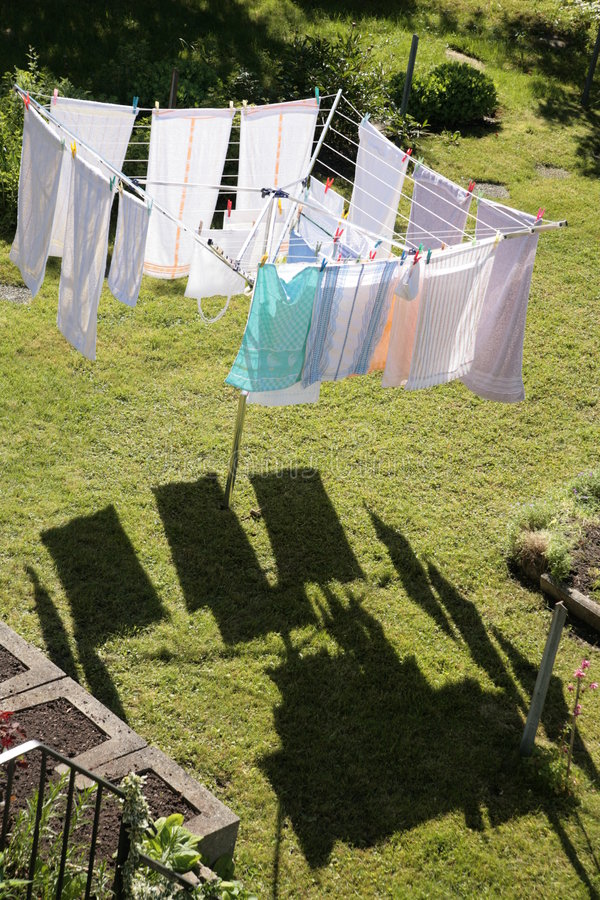 Free Laundry On A Rotary Clothes Dryer Royalty Free Stock Photo - 973255