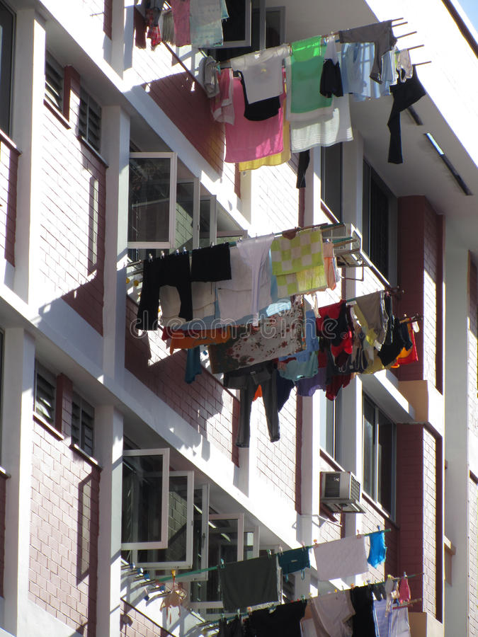 Free Laundry Outside High Rise Apartments Stock Images - 76353094
