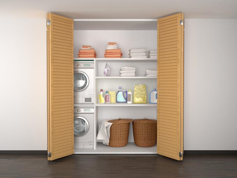 Laundry in the pantry. Washer and dryer. 3d illustration royalty free illustration